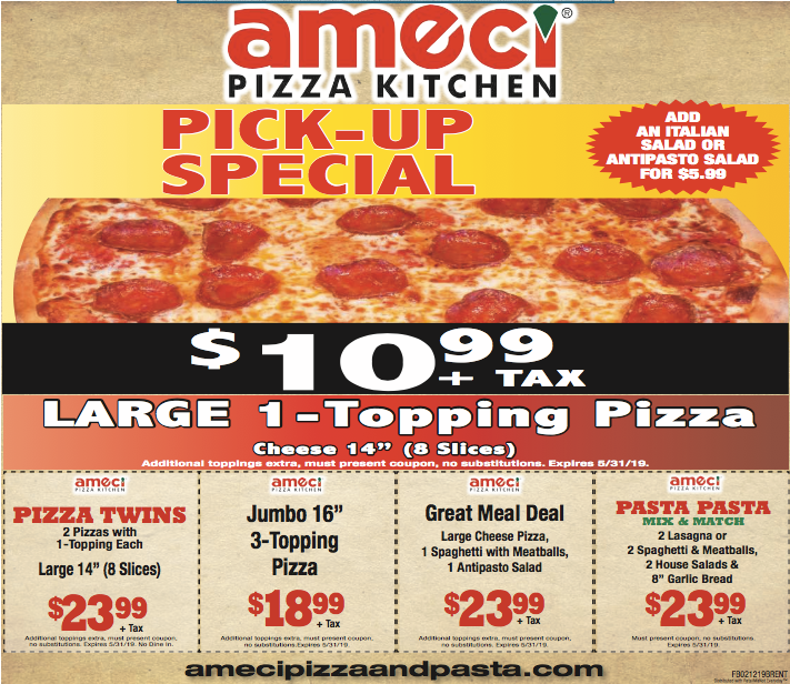 Ameci Pizza Kitchen Brentwood Coupon